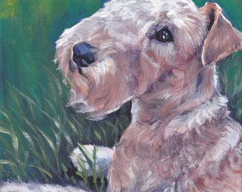 Lakeland Terrier dog art giclee CANVAS print of LA Shepard dog painting 8x8 portrait