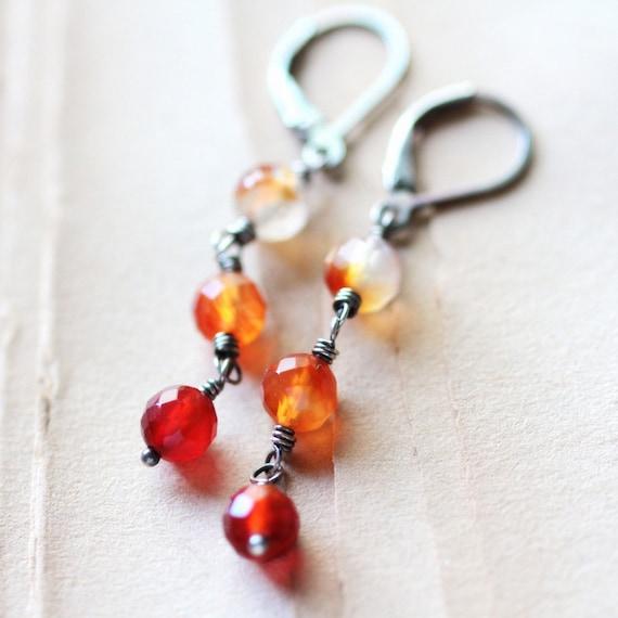 Autumn Dangle Earrings on Sterling Silver - Sunrise Coral Quartz Fall Fashion Ombre Long Dangle Earrings