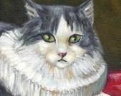 "cat painting art print ""A Cat In Peter Paul Rubens World"" long hair tuxedo cat, cat lover gift, wall decor, desk decoration"
