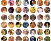 circle 1x1 inches - Gustav Klimt Art Works to be used in your scrabble tiles, pendants etc. - For unlimited number of prints