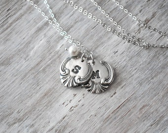Two Customized Vintage Spoon Initials Necklace -  Personalized Initial Charms, Sterling Silver Chain - Moms Necklace
