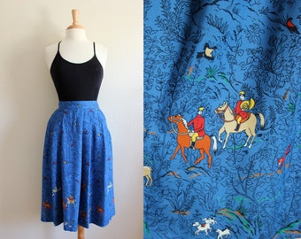 Vintage Fox Hunt Novelty Print Blue Midi Skirt