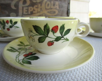 Vintage Strawberry Taylor Smith Taylor Cup and Saucers Set of 6