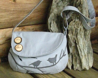 Bird Tote, Handbag, Purse, Messenger, Shoulder Bag, Grey,  School Bag, 3 Large Pockets, 1 Large Zipper Pocket