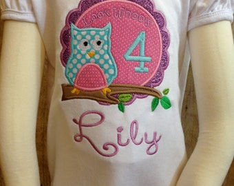 Look Who's owl birthday applique ruffled shirt.