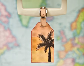Palm Leather Luggage Tag // Letterpress