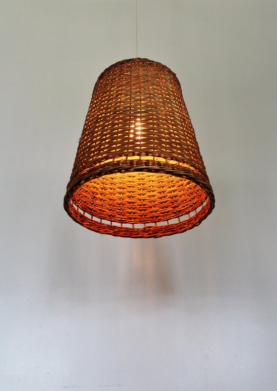 Woven Basket Lamp : Wicker basket pendant lamp ooak upcycled hanging lighting