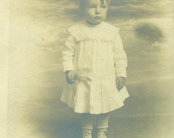 Robert M Stang Little Toddler Boy Standing Portrait RPPC Real Photo Postcard Vintage Antique Black White Photo Photograph