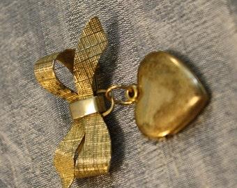 Vintage Gold Plated Sterling Heart Locket Brooch