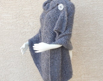 Handmade Hand Knit Shawl, Cape, Wrap Divinely Soft Steel Grey  Outerwear