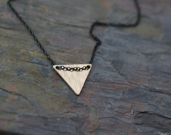 gold necklace, gold triangle necklace, black chain, black and gold, geometric necklace, simple gold necklace, delicate gold everyday gold