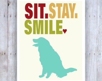 Golden Retriever Art, Dog Art, Sit Stay Smile, Funny Dog Art, Dog Decor, Dog Wall Art, Golden Retriever Decor, Cute Dog Art, Cubicle Art