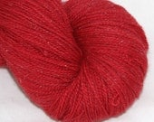 Sale--Cherry--Twinkle Cat Lace--Merino/Silk/Silver