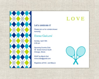 Bridal Shower Invitation LOVE Tennis Preppy Argyle Athlete Sports Country Club Athletic