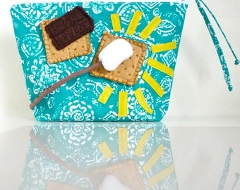 Hooray for S'mores Pouch in 3-D - Zippered - Summer Campfire - OOAK - Handmade in USA