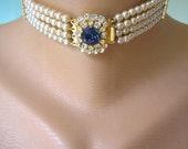 Sapphire Bridal Choker, Great Gatsby, Pearl Choker, Bridal Jewelry, Pearl Necklace, Pearl And Sapphire Necklace, Art Deco Statement