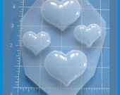 SALE 4 Puffy Hearts Desire Handmade Poly Plastic Resin Mold