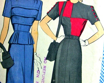 1940s Vintage Hollywood Pattern 1526 - FABULOUS One Piece Dress ( pleated peplum optional ) - Factory Folded - Size 12 Bust 30