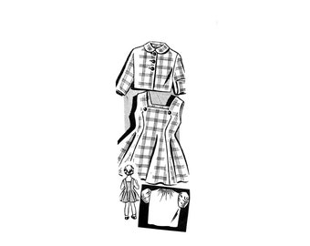 1950s Girls Jumper Blouse Jacket Pattern Size 3 Princess Seam Flared Party or School Dress Sew Rite 8162 Vintage Sewing Pattern UNPRINTED