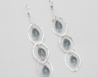Gray Quartz and Hammered Silver Chain Statement Earrings, Artisan Silver Jewelry with Semi Precious Stones, Long Earrings
