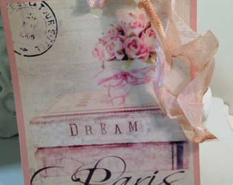 Paris Gift Tags...  Dreaming of Paris Party Favor Tags..Shabby Chic..French..........Set of 4 ECS