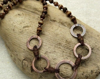 Agate Copper Washer Necklace - 18 inch