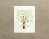 Wedding Guest Book Tree Thumbprint Fingerprint Tree with BANNER