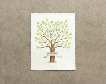 Wedding Guest Book Tree Thumbprint Fingerprint Tree with BANNER