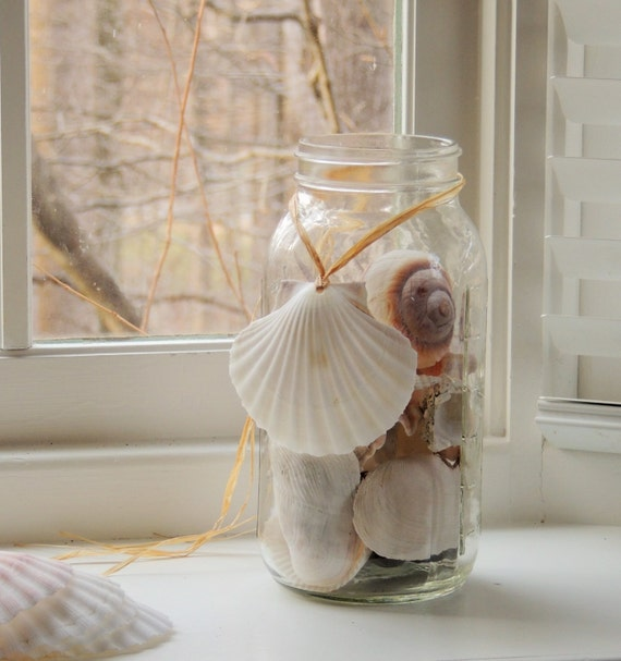 Seashell ornament beach wedding decorations mason jar