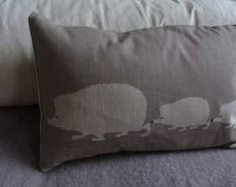 Hand printed hedgehog family cushion cover