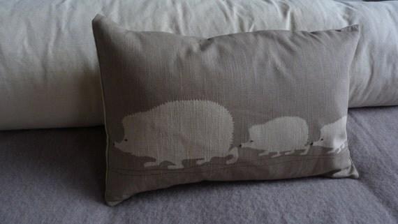 Hand printed hedgehog family cushion cover
