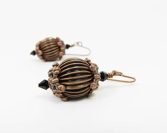 Zen Jewelry Copper Fluted Asian Lantern Drop Earrings, Copper Zen Drops, Unique Jewelry, Earthy Antique Copper Fluted Drops