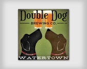Custom PERSONALIZED Double Dog LABRADOR Brewing Company Gallery Wrapped Stretched Canvas Signed