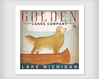 Golden Dog Canoe Company Golden Retriever Canoe Ride Graphic Art Giclee Print 20x20 Signed