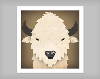 Buffalo Bison White Buffalo GRAPHIC ART Illustration print SIGNED