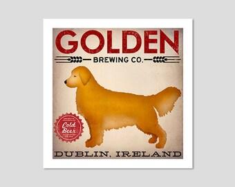 CUSTOM text GOLDEN Retriever BEER Brewing Co. print Signed