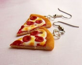 pepperoni pizza slice earrings polymer clay