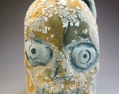 Pumpkin and White Crackle Handmade Ceramic Skull Jug with Bony Spout and Handle