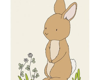 Woodland Nursery Art -- Bunny Art -- Woodland Animal Art, Children Art Print, Kids Wall Art, Bunny Picture