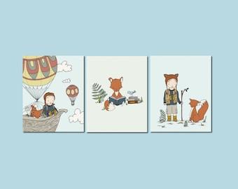 Woodland Nursery Art -- Boy and Fox Adventure Art -- Woodland Animal Art -- Set of 3 Prints -- Boys Nursery Decor -- Kids Wall Art -- BLONDE