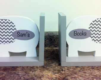 Elephant bookends- nursery decor- bookends for kids- gray and white nursery- book holders- personalized- baby shower gift- wooden elephant