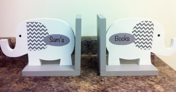 Elephant Bookends Nursery Decor Bookends For Kids Gray And