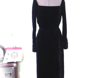 Vintage19 50sBlack Velvet Wiggle Dress - Ultimate 50s Sexy Black Velvet Stunning Dress S - on sale