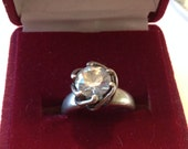 Sterling Clear Stone Ring Size 5
