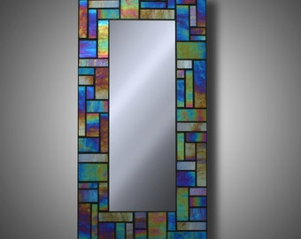 "Iridescent Stained Glass Mosaic Mirror - Kokomo Glass 8"" x 16"" - Modern Home Decor - Accent Mirror - Iridescent Glass - by DeMaris Gaunt"
