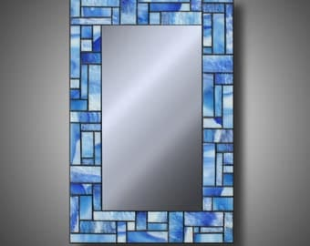 "Stained Glass Mosaic Mirror Light Blue and White - Uroboros Glass - 12"" x 18"" Modern Home Decor - Unique Mirrors - Art Glass"
