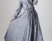 gray linen dress woman causal dress long sleeve dress custom made (791)