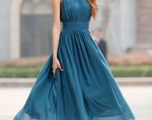 blue chiffon sleeveless dress -  custom made  summer dress with pleated waist detail (918)