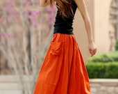 Orange skirt, womens skirts, maxi skirt, linen skirt, elastic waist skirt, skirt with pockets,A line skirt ,Full skirt ,Circle skirt (958)