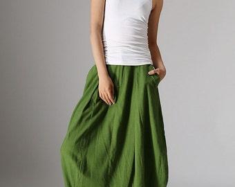 Midi skirt, bubble skirt, green skirt, linen skirt, spring skirts, modern clothing, womens skirts, plus size skirt, pocket skirt (984)